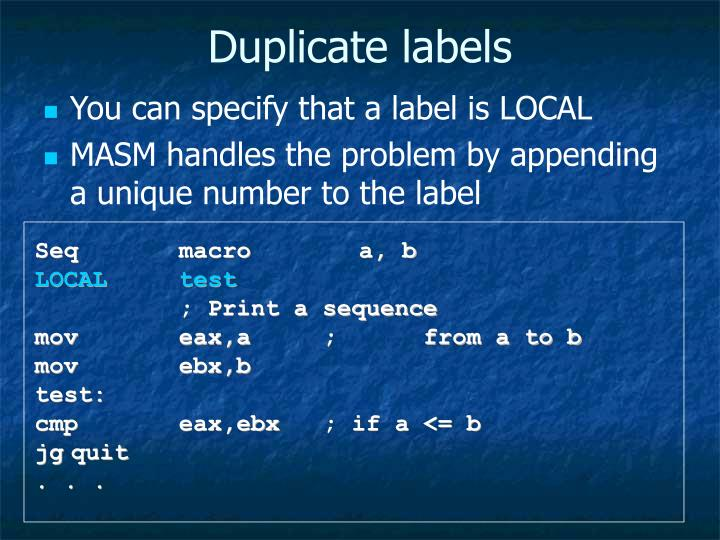 Duplicate labels