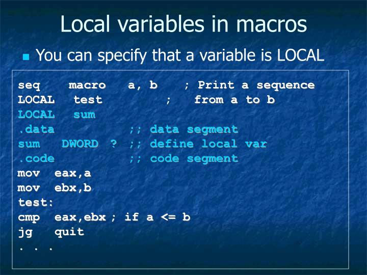 Local variables in macros
