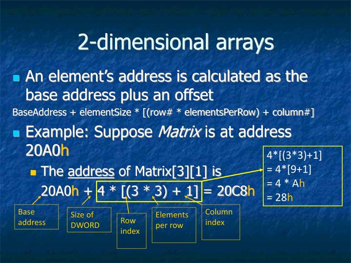 2-dimensional arrays