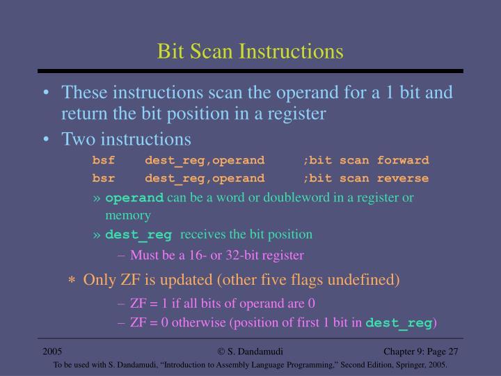 Bit Scan Instructions