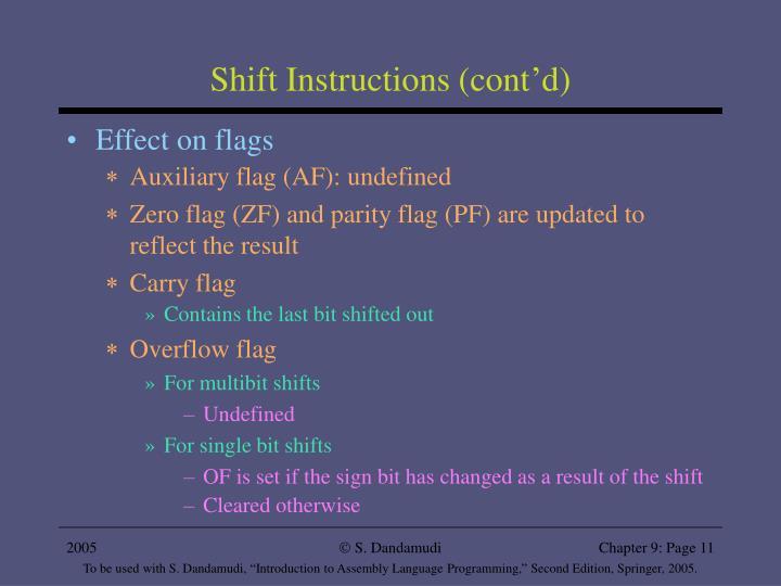 Shift Instructions (cont'd)