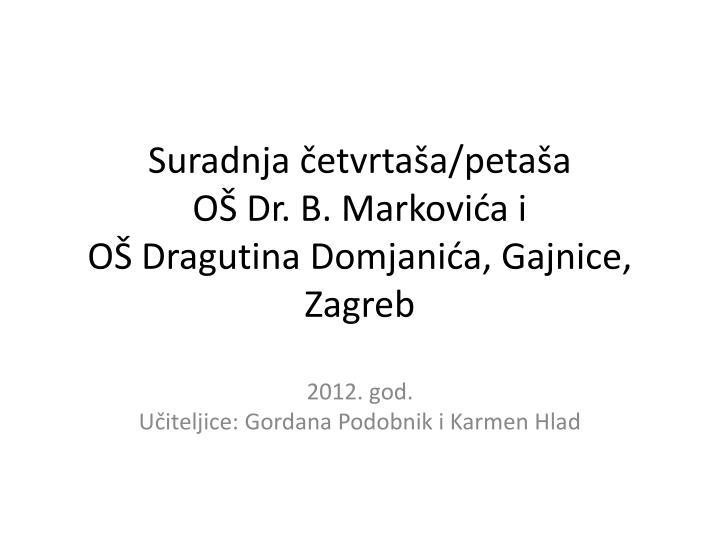 Ppt Suradnja Cetvrtasa Petasa Os Dr B Markovica I Os