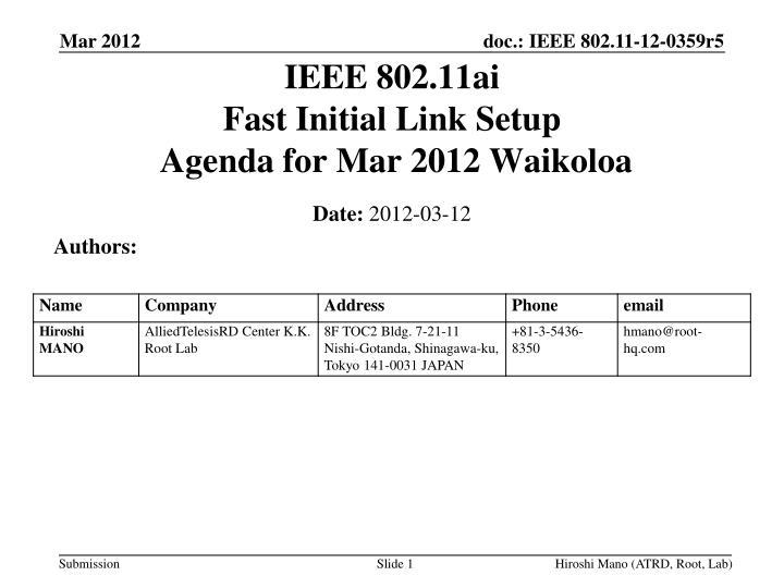 ieee 802 11ai fast initial link setup agenda for mar 2012 waikoloa n.