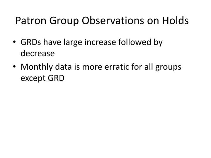 Patron Group Observations on Holds