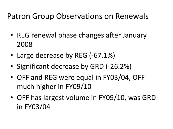 Patron Group Observations on Renewals