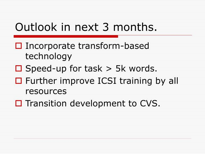 Outlook in next 3 months.
