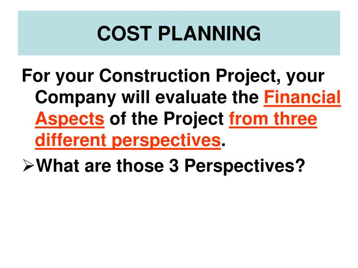 cost planning n.