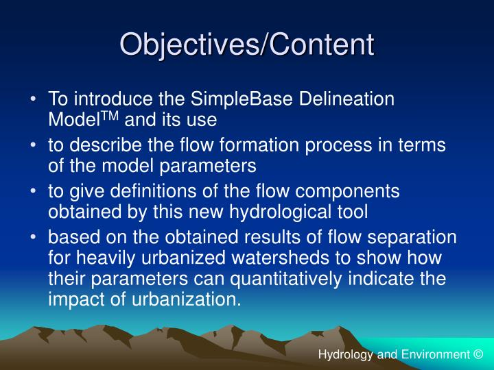 Objectives content