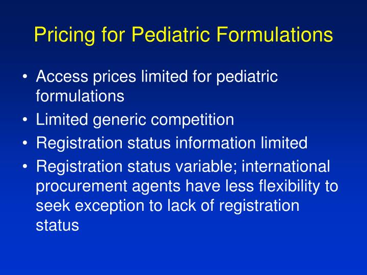 Pricing for Pediatric Formulations
