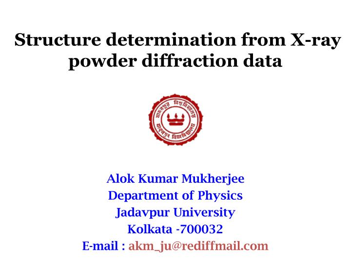 structure determination from x ray powder diffraction data n.