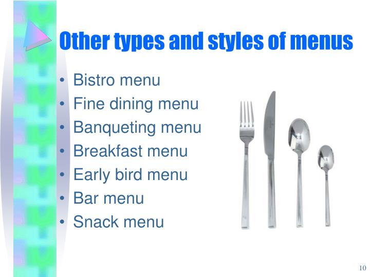 Other types and styles of menus