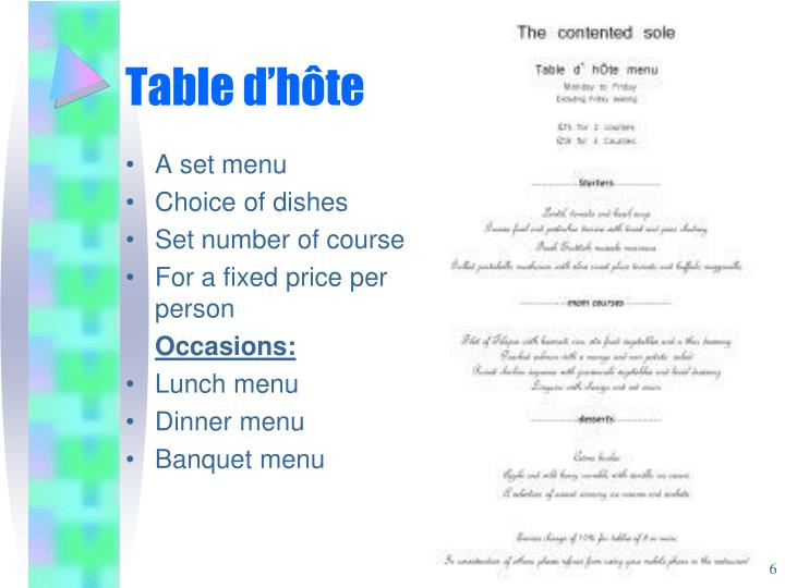 Table d'h