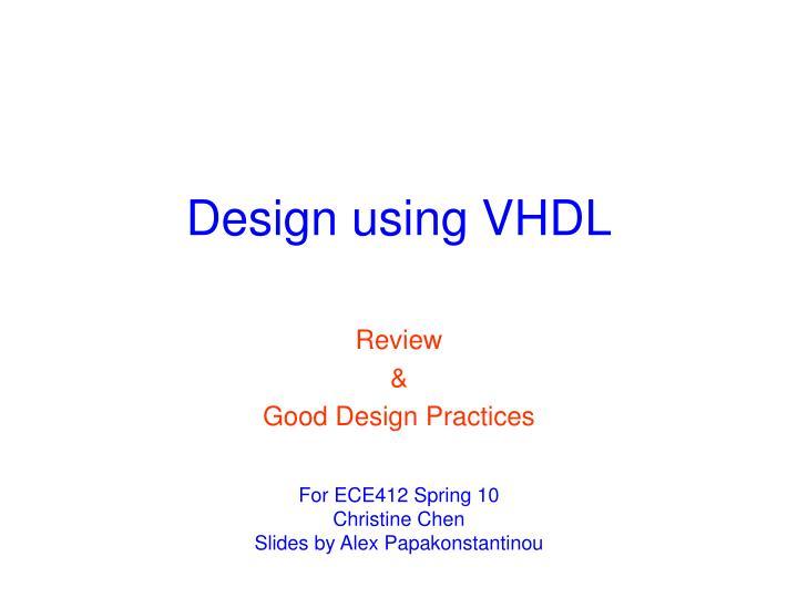 design using vhdl n.