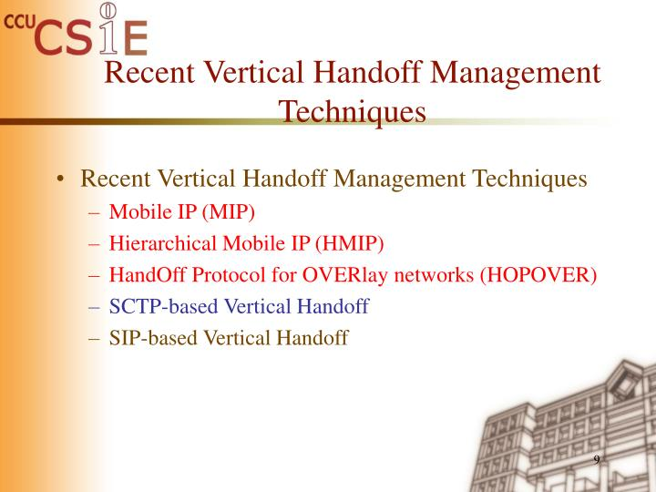Recent Vertical Handoff Management Techniques