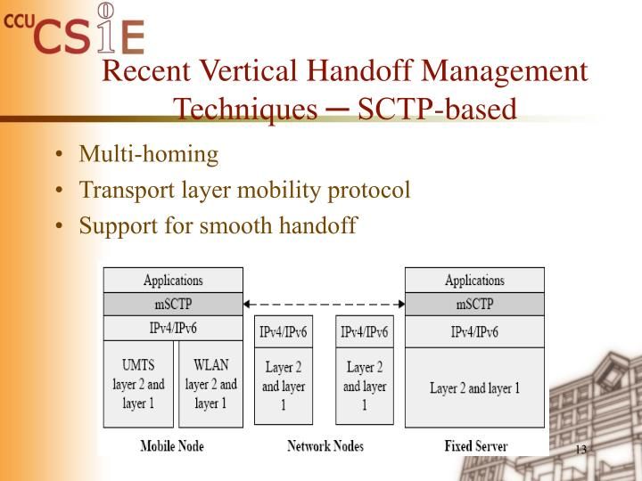 Recent Vertical Handoff Management Techniques ─ SCTP-based