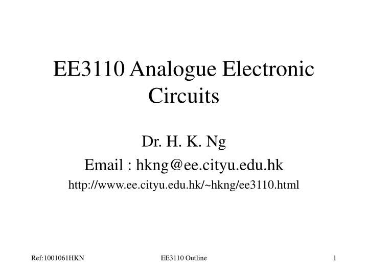ee3110 analogue electronic circuits n.