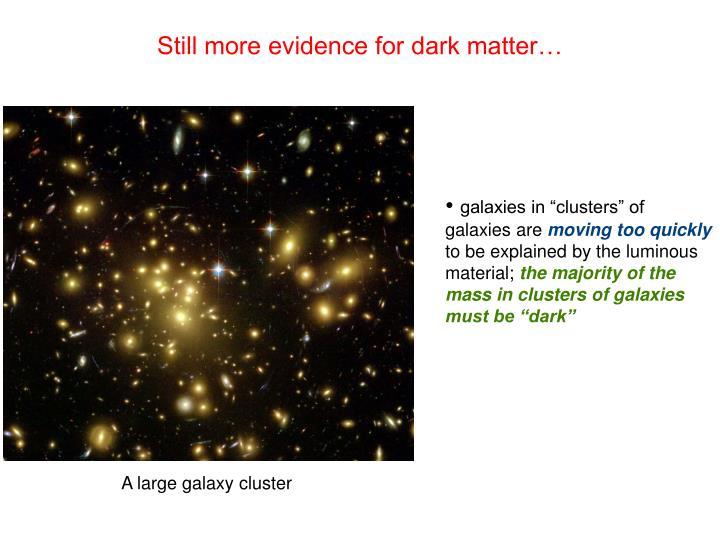 Still more evidence for dark matter…