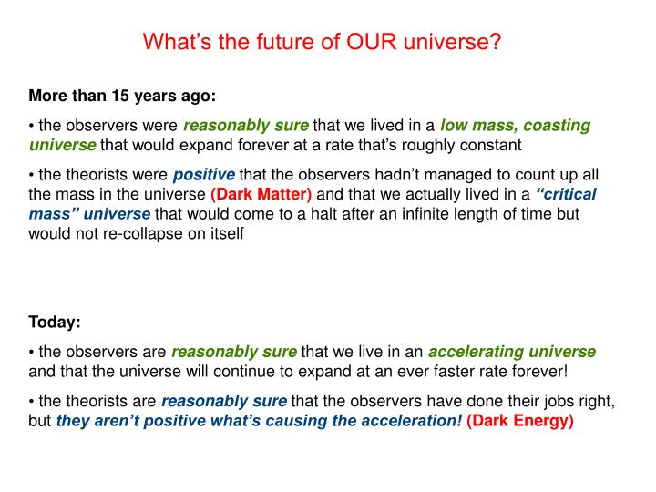 What's the future of OUR universe?