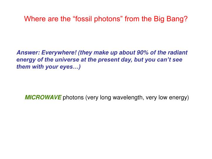 """Where are the """"fossil photons"""" from the Big Bang?"""