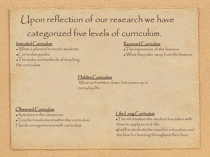 Upon reflection of our research we have categorized five levels of curriculum.