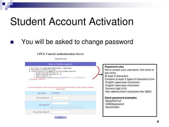 Student Account Activation