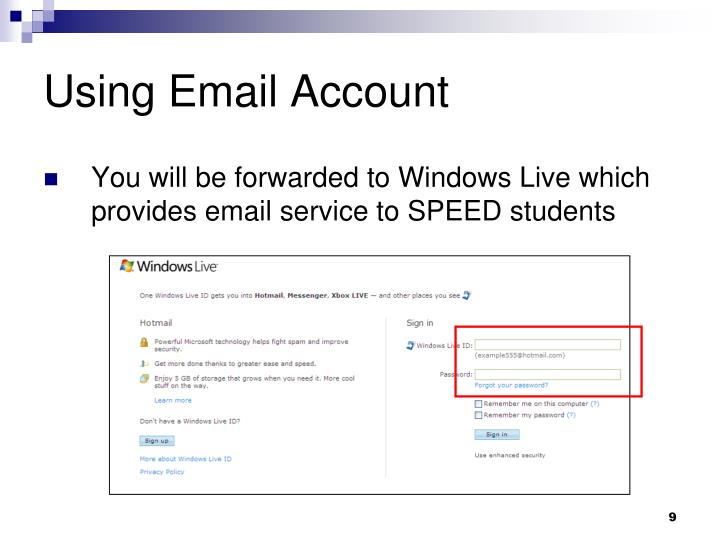 Using Email Account