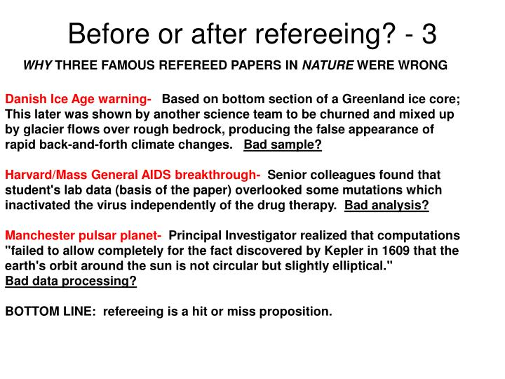 Before or after refereeing? - 3
