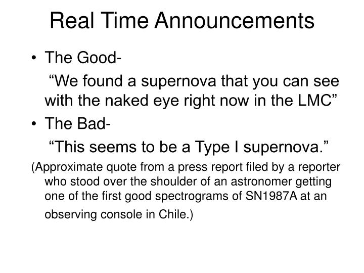 Real Time Announcements
