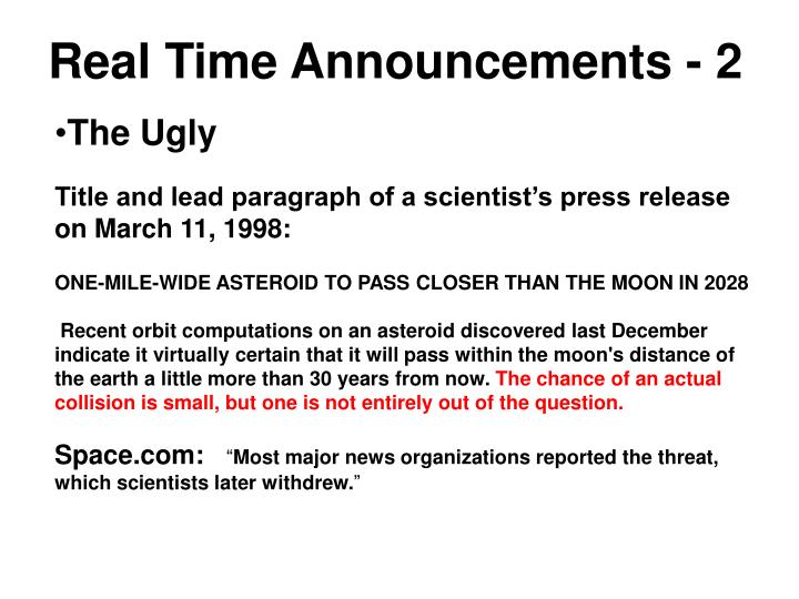 Real Time Announcements - 2