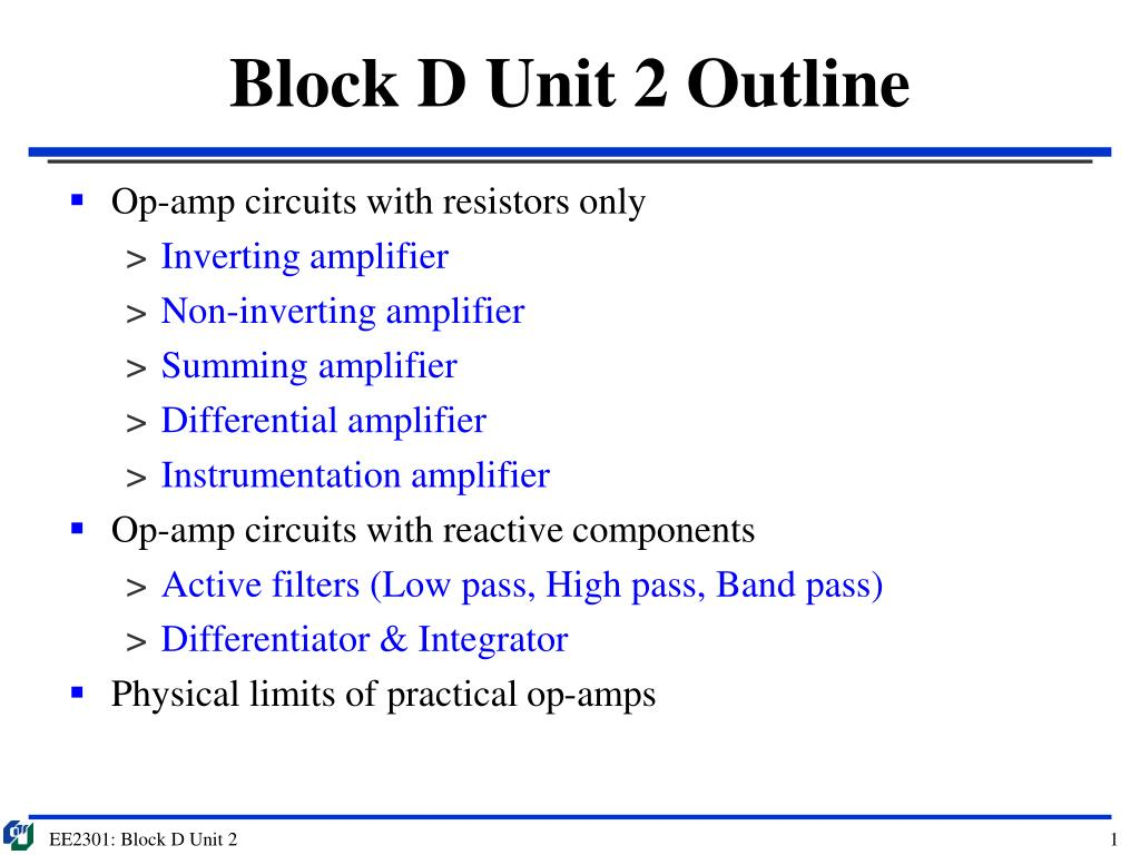 Ppt Block D Unit 2 Outline Powerpoint Presentation Id3544110 Practical Inverting Amplifier Using 741 N