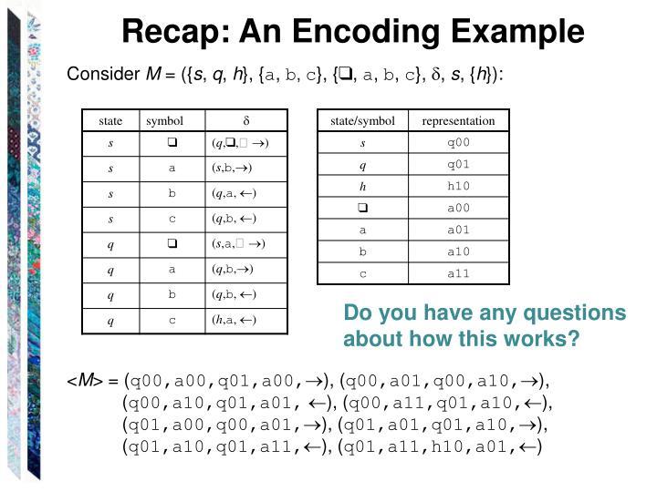 Recap: An Encoding Example