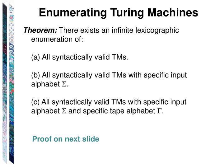 Enumerating Turing Machines