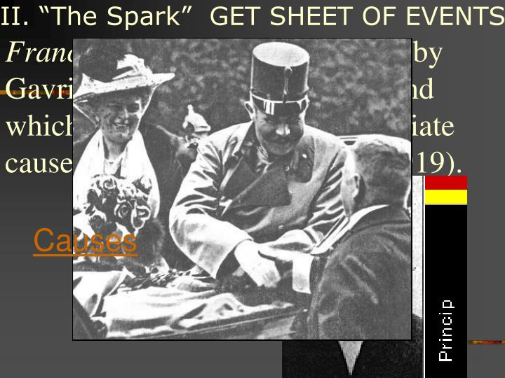 """II. """"The Spark""""  GET SHEET OF EVENTS"""