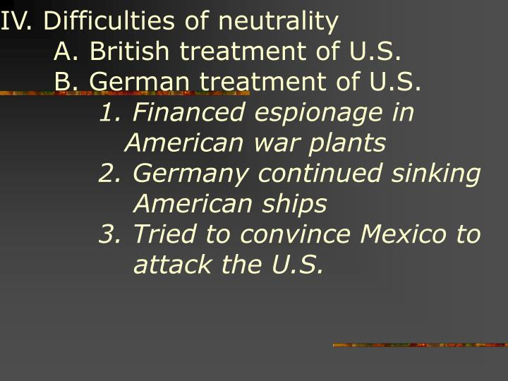 IV. Difficulties of neutrality