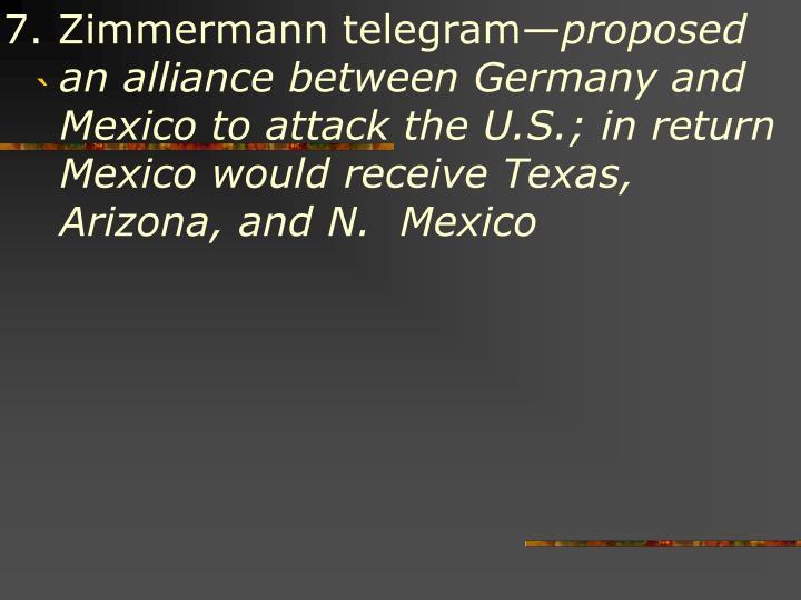 7. Zimmermann telegram—