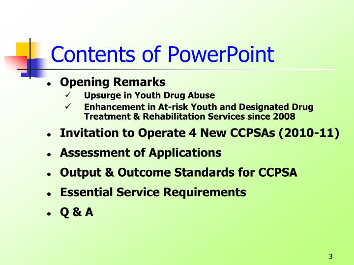 Contents of powerpoint