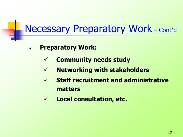 Necessary Preparatory Work