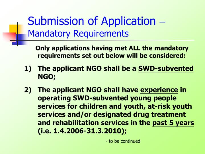 Submission of Application
