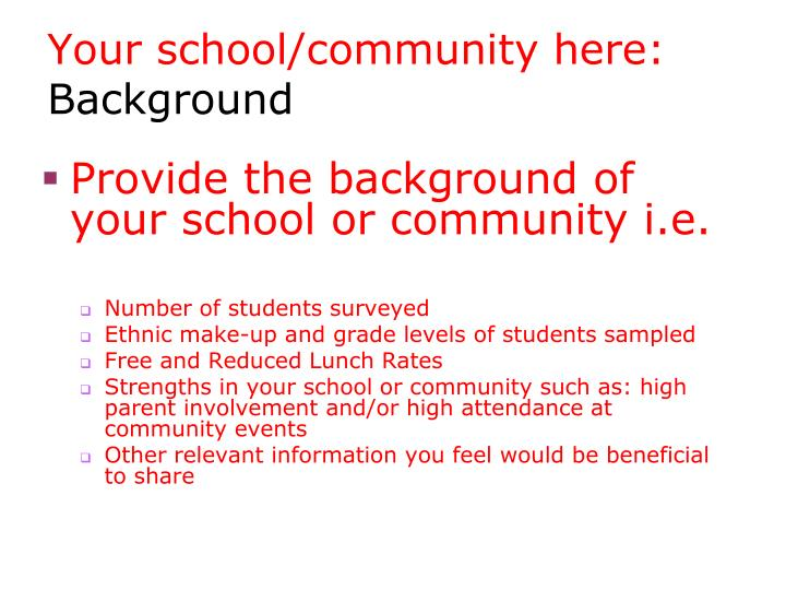 Your school/community here: