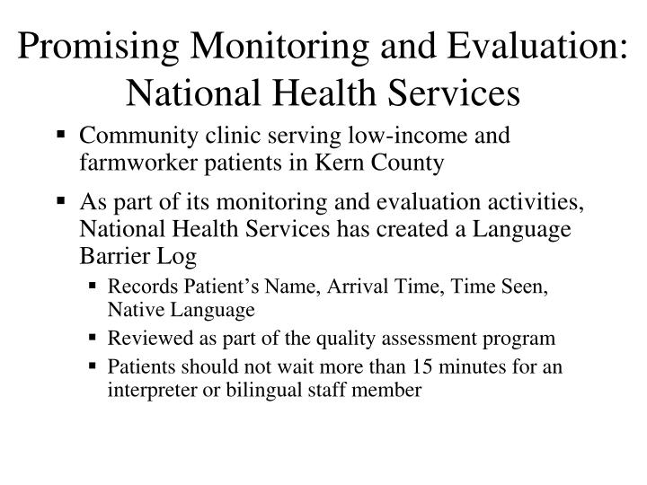 Promising Monitoring and Evaluation: