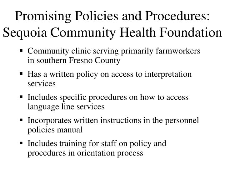 Promising Policies and Procedures: