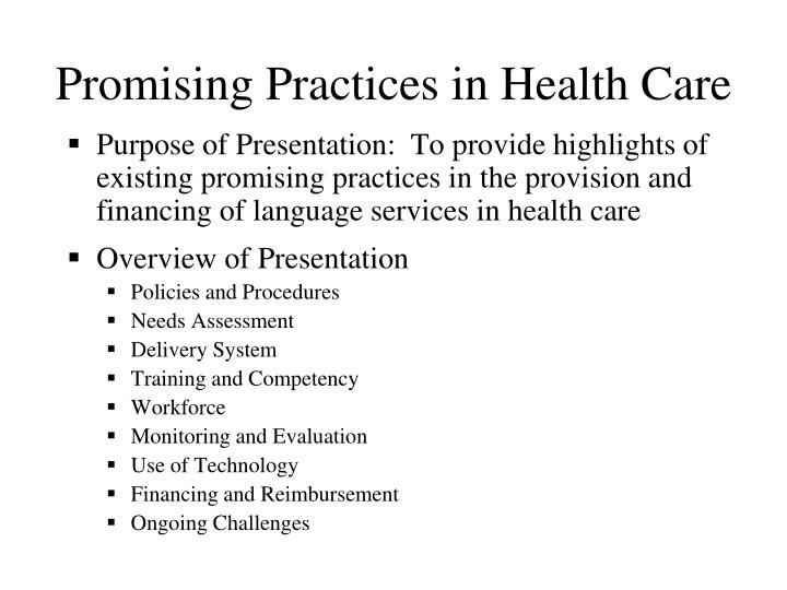 Promising practices in health care