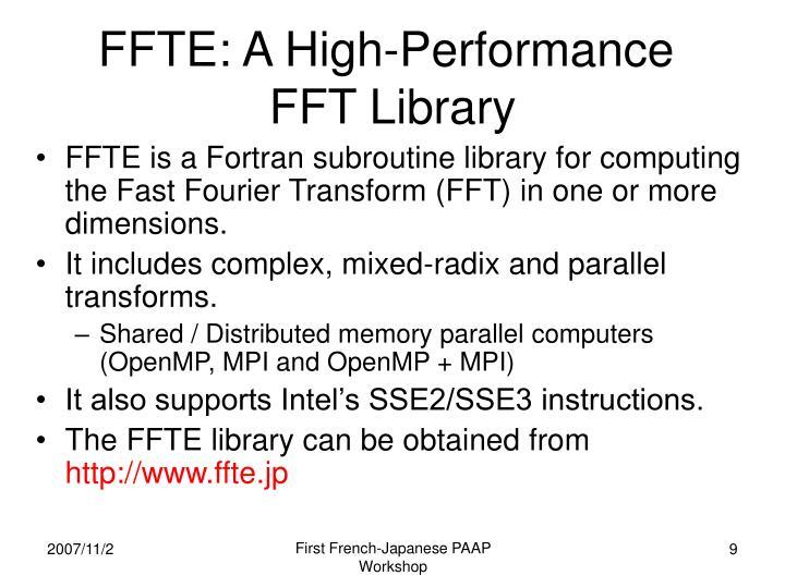 FFTE: A High-Performance