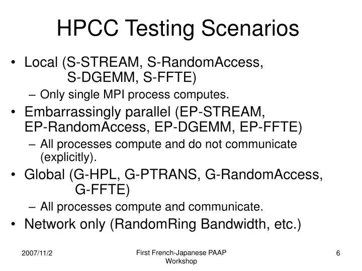 HPCC Testing Scenarios