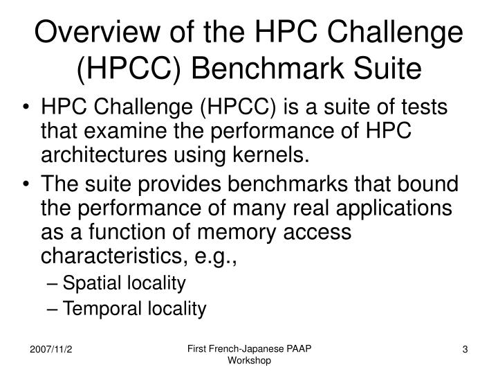 Overview of the hpc challenge hpcc benchmark suite