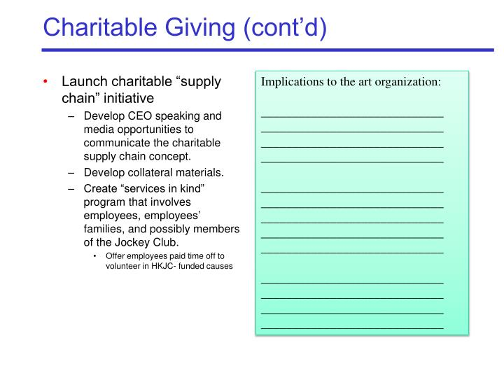 Charitable Giving (cont'd)
