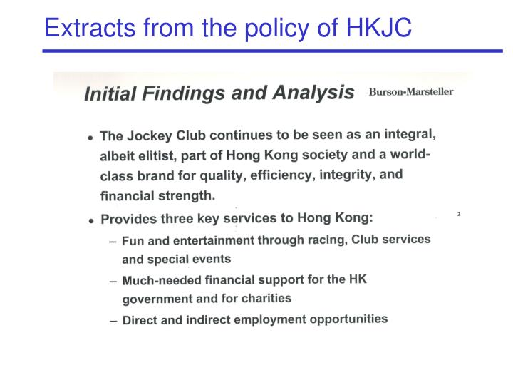 Extracts from the policy of HKJC