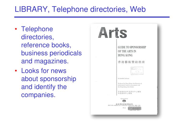 LIBRARY, Telephone directories, Web