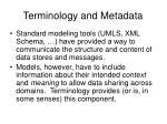 terminology and metadata