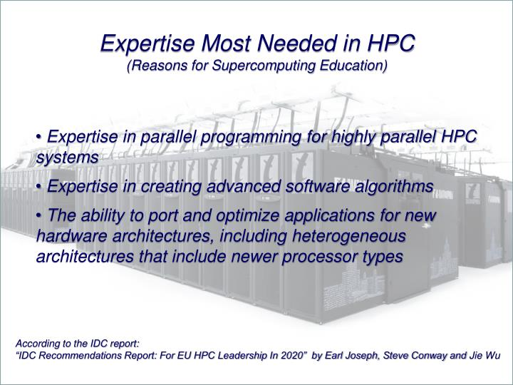 Expertise Most Needed in HPC
